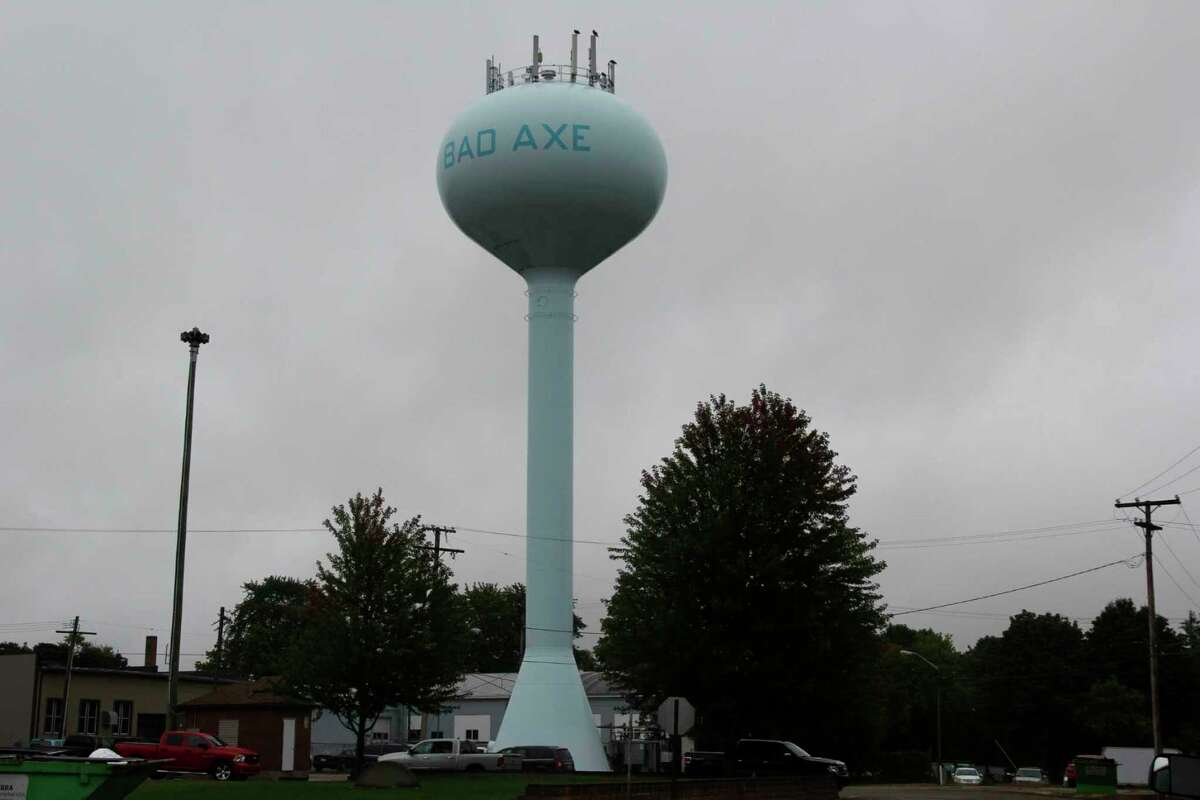 The Bad Axe water tower near Bad Axe city park. The tower will get two hatchets painted onto it as part of repainting work later this year. (Tribune File Photo)