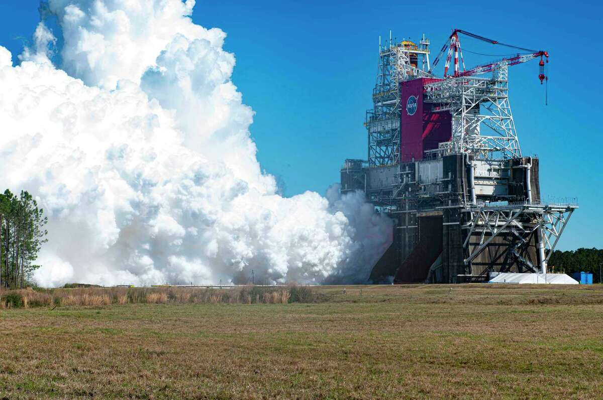NASA conducts a hot fire test March 18, 2021, of the core stage for the agency's Space Launch System rocket at Stennis Space Center near Bay St. Louis, Miss.