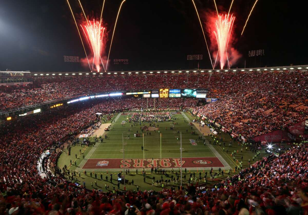 Fireworks explode over Candlestick Park after the San Francisco 49ers beat the Atlanta Falcons on Dec. 23, 2013.