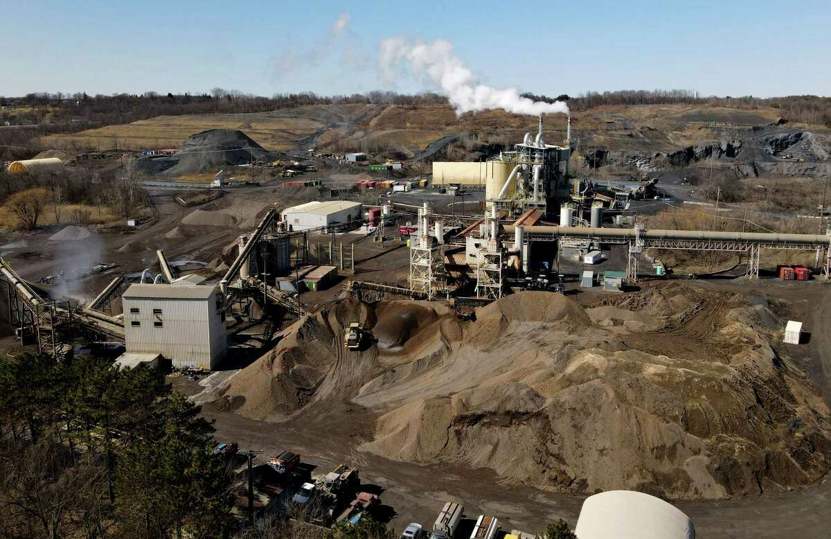 View of the Norlite aggregate and incinerator plant from above the Saratoga Sites Apartments on Friday, March 19, 2021, in Cohoes, N.Y. L(Will Waldron/Times Union)