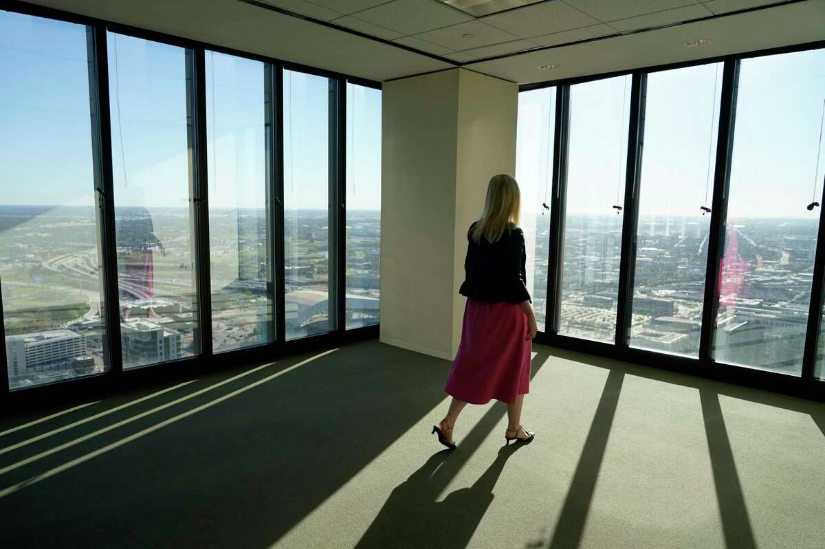 Jackie Traywick, COO Central Houston, is shown in the office space the company will be moving into once it is renovated at LyondellBasell Tower, 1221 McKinney, Thursday, March 18, 2021 in Houston.