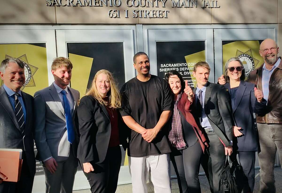Jeremy Puckett exits Sacramento County jail this month after serving nearly two decades for a killing he didn't commit. Here he is with his attorneys from the Northern California Innocence Project and the law firm of Simpson Thacher & Bartlett LLP.