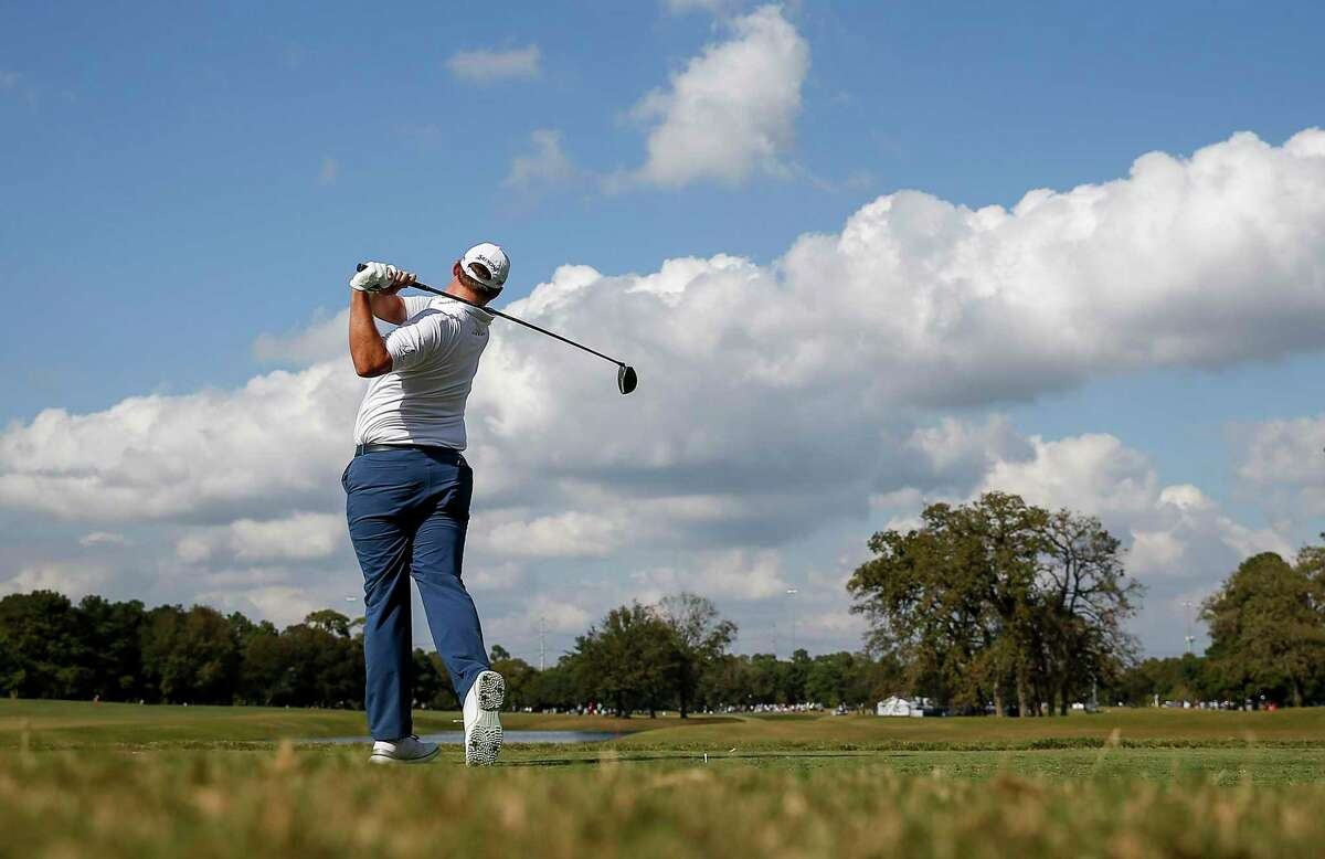 Sepp Straka watches his tee shot on the 16th hole during the fourth round of the Vivint Houston Open on Sunday, Nov. 8, 2020, at Memorial Park Golf Course in Houston.