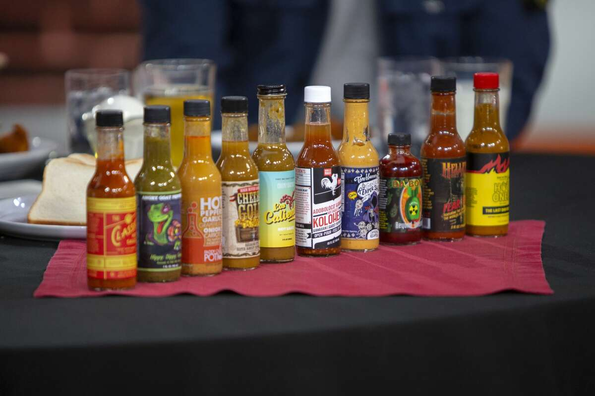 """TODAY -- Pictured: Hot sauces from """"Hot Ones"""" on Thursday, March 28, 2019 -- (Photo by: Zach Pagano/NBCU Photo Bank/NBCUniversal via Getty Images via Getty Images)"""