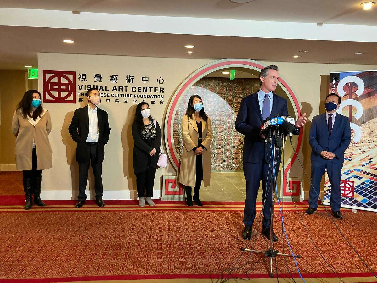 Governor Gavin Newsom speaks after meeting with Bay Area AAPI (Asian American and Pacific Islander) community leaders at the Chinese Culture Center of San Francisco amid the rise in racist attacks across the country on Friday, March 19, 2021 in San Francisco, Calif.