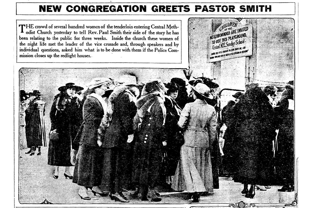 """The Jan. 26, 1917 San Francisco Chronicle reported that """"women of the night life meet the leader of the vice crusade,"""" with photos of """"hundreds"""" of women crowding into Rev. Paul Smith's Tenderloin church."""