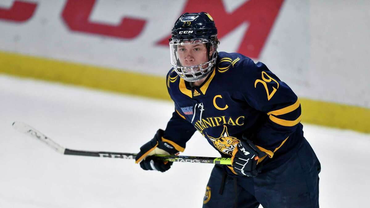 Quinnipiac forward Odeen Tufto looks on during an NCAA hockey game against St. Lawrence.
