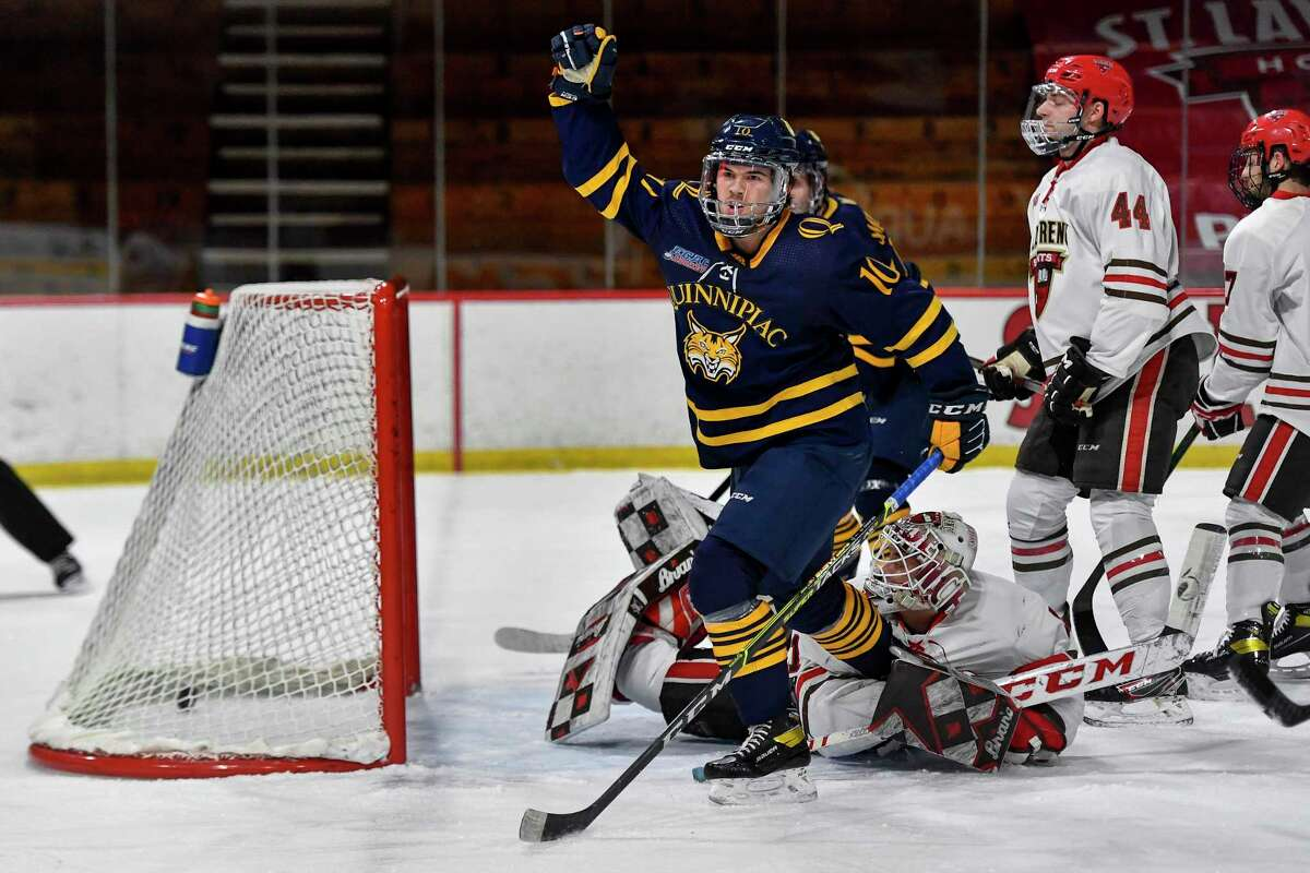 Quinnipiac forward Ethan de Jong, shown in a Feb. 26 game against St. Lawrence, was voted preseason all-conference by both the coaches and media.