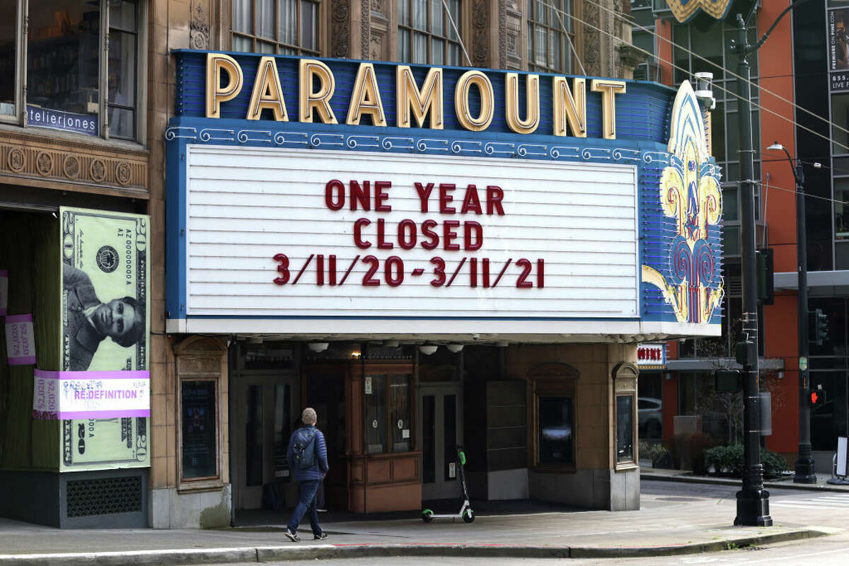SEATTLE, WA - MARCH 15: A marquee on the Paramount Theater reads One Year Closed, 3/11/20 - 3/11/21 on March 15, 2021 in Seattle, Washington. (Photo by Karen Ducey/Getty Images)