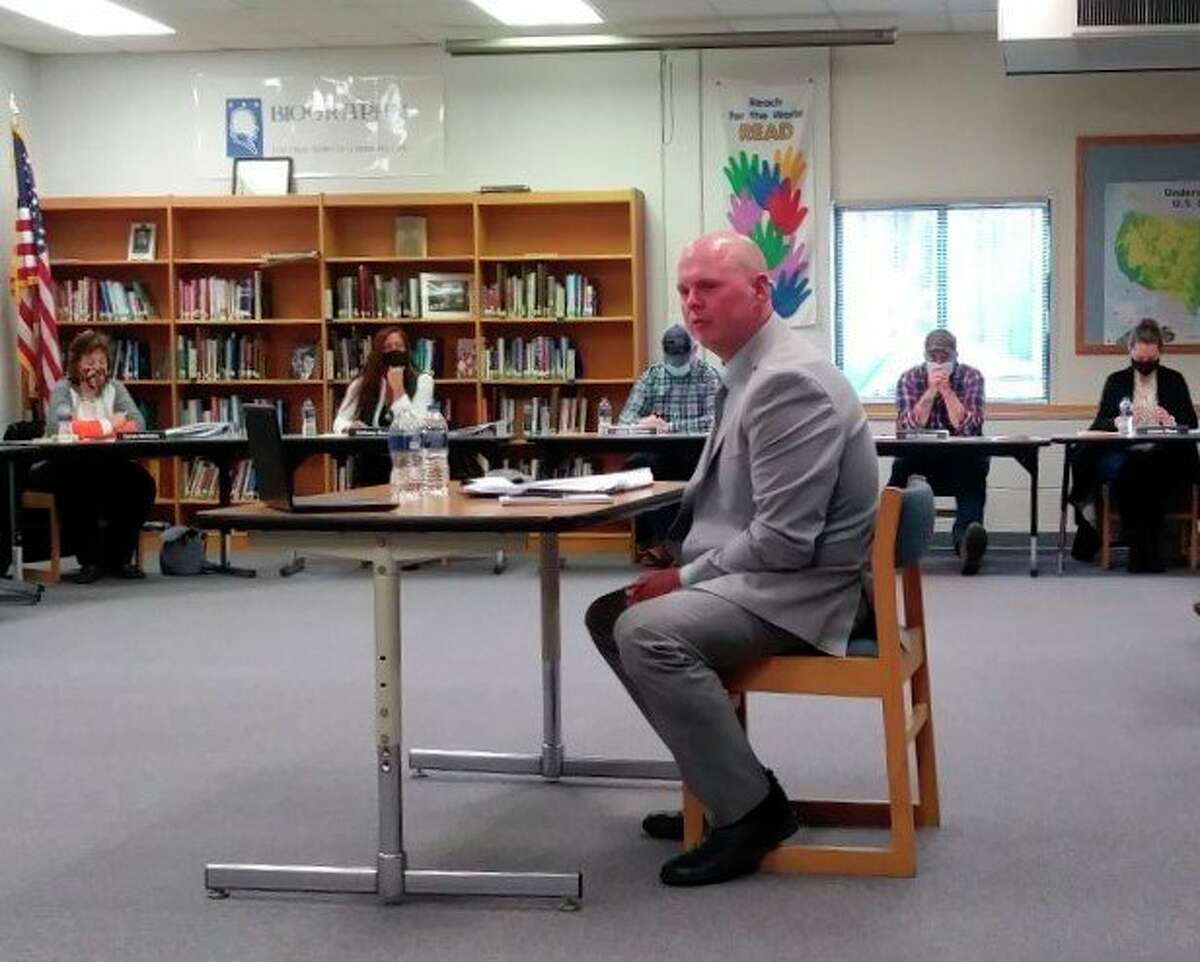 Jakob Veith, K-12 principal of Kaleva Norman Dickson Schools, is interviewed for the position of dual superintendent of KND and Bear Lake in the Brethren Media Center on Thursday. After interviewing Veith and Jack Ledford,the combined school boards voted in favor of hiring Veith. (Kyle Kotecki/News Advocate)