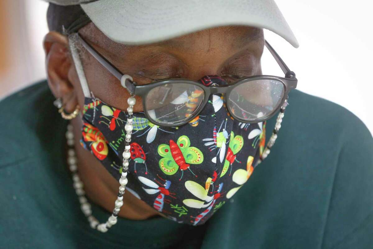Doris Jones cuts fabric in her workshop Friday, March 5, 2021, in Simonton. Jones will receive a new home from through the Texas General Land Office's Harvey Reconstruction Program after her home was damaged in Hurricane Harvey and the Tax Day floods.