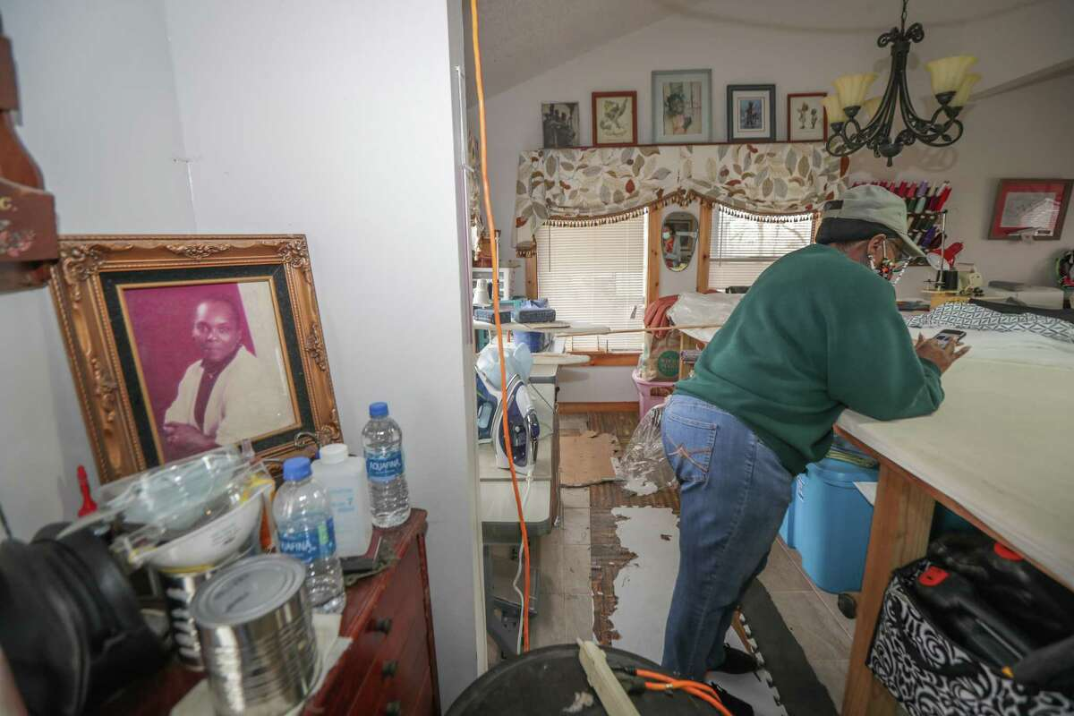 A framed photo of Doris Jones is placed in Jones' workshop Friday, March 5, 2021, in Simonton. Jones will receive a new home from through the Texas General Land Office's Harvey Reconstruction Program after her home was damaged in Hurricane Harvey and the Tax Day floods.