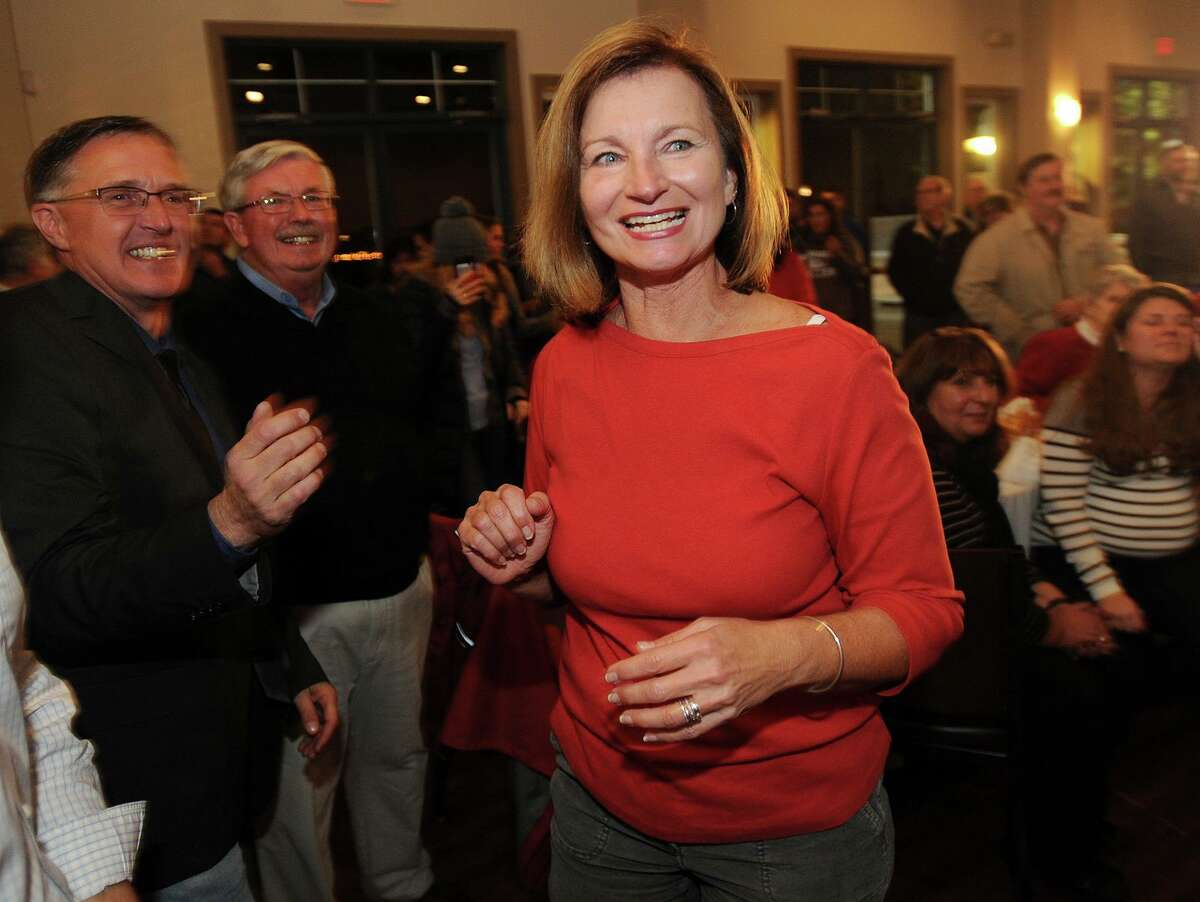 A file photo showing newly elected Stratford Republican Town Council member Laura Dancho smiling as she is introduced during the Republican victory party at the Riverview Bistro restaurant in Stratford, Conn. on Tuesday, November 7, 2017.