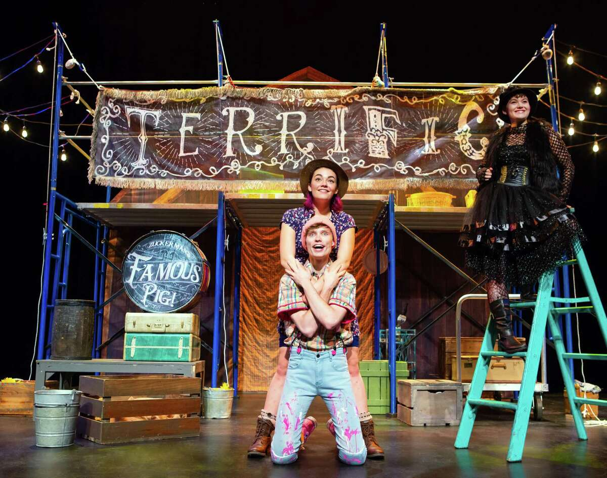 """Matthew Dwight Lincoln, Cassidy Layton Taylor and Marie Rasmussen in 'Charlotte's Web' through TheaterWorks USA. The show is a part of Galveston's """"Super Fun"""" series aimed at children."""