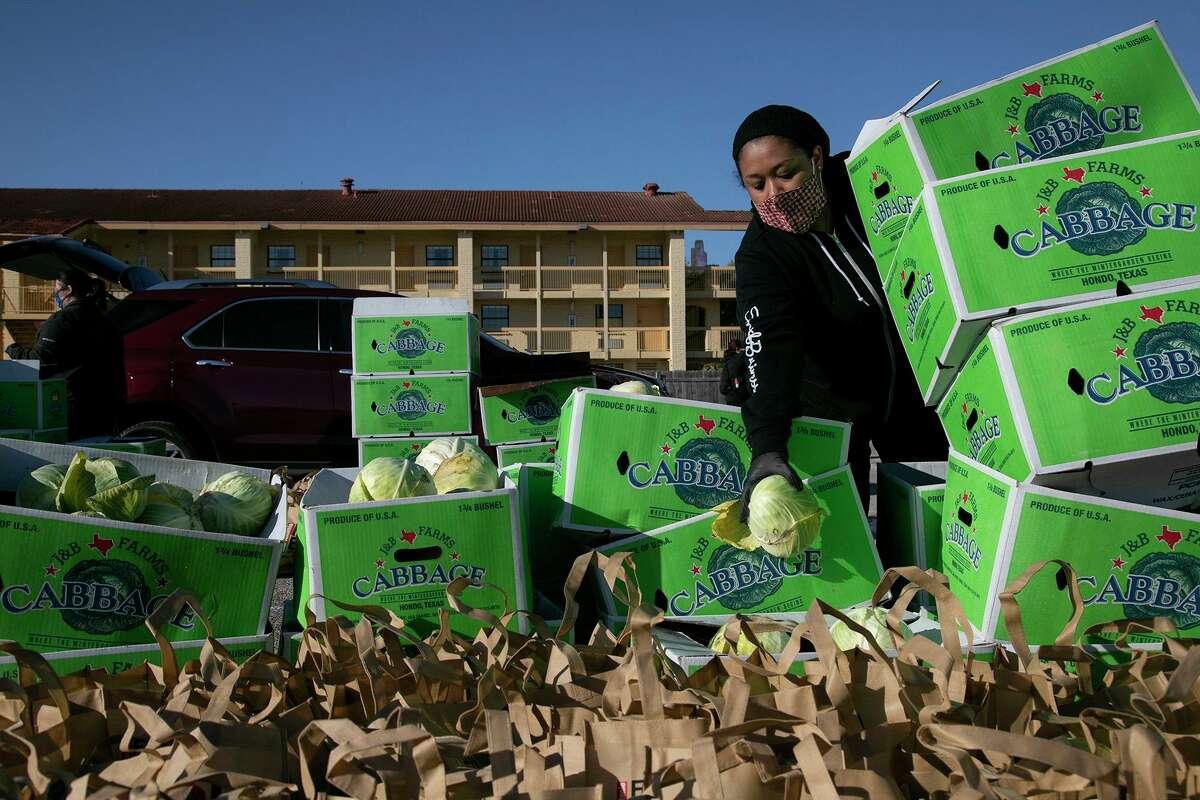 Volunteer Jennifer Rangel moves cabbages during the San Antonio Food Bank's mega food distribution at Gustafson Stadium in San Antonio on March 19, 2021.