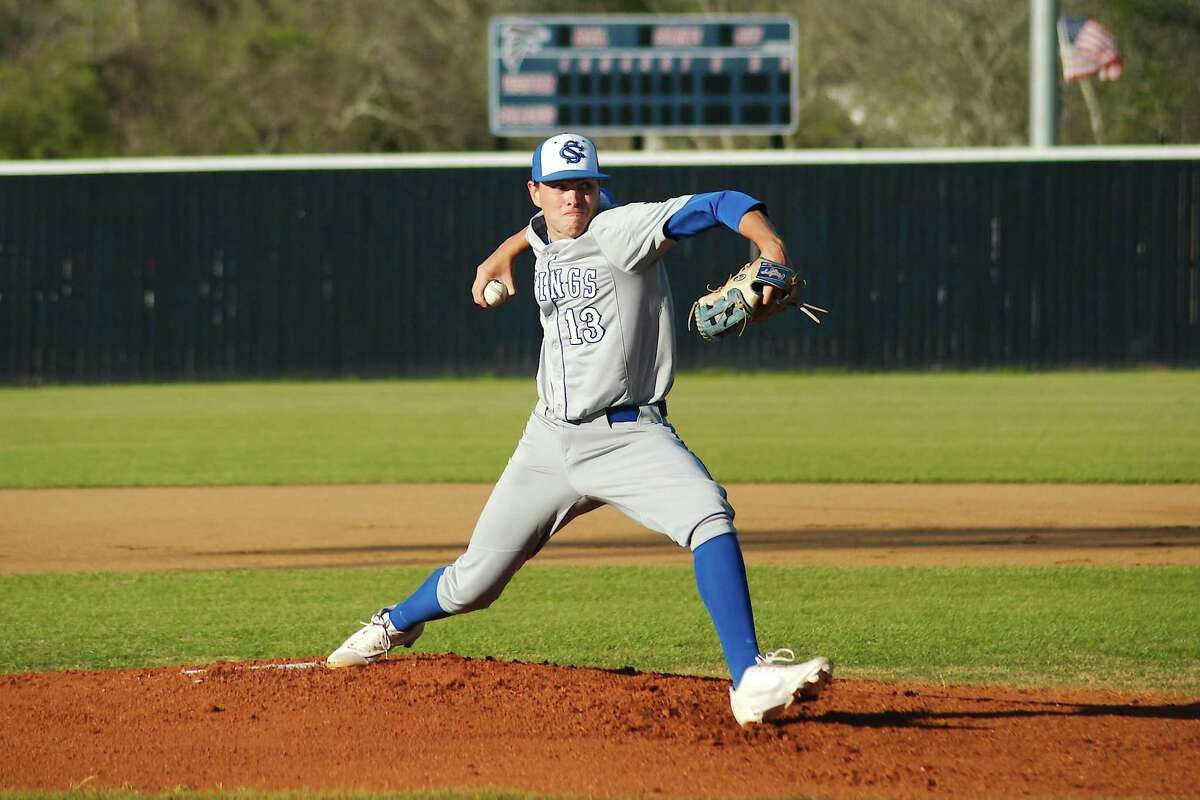 Clear Springs' Levi Ewert (13) bears down against Clear Lake Friday in a District 24-6A baseball game at Clear Lake High School.