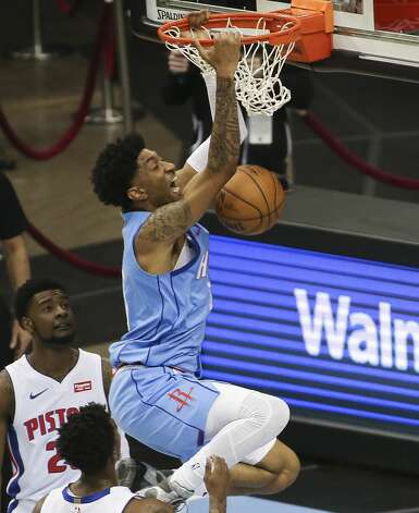 Houston Rockets center Christian Wood (35) dunks during the first quarter of the NBA game against the Detroit Pistons Friday, March 19, 2021, at Toyota Center in Houston. Photo: Yi-Chin Lee/Staff Photographer / © 2021 Houston Chronicle