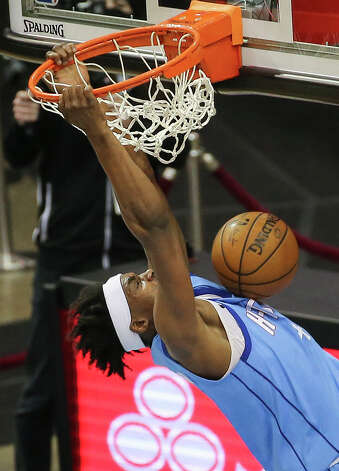 Houston Rockets forward Danuel House Jr. (4) dunks during the second quarter of the NBA game against the Detroit Pistons Friday, March 19, 2021, at Toyota Center in Houston. Photo: Yi-Chin Lee/Staff Photographer / © 2021 Houston Chronicle
