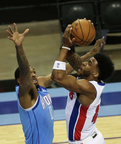 Detroit Pistons forward Saddiq Bey (41) goes for the basket while Houston Rockets forward Sterling Brown (0) is trying to stop him during the first quarter of the NBA game Friday, March 19, 2021, at Toyota Center in Houston. Photo: Yi-Chin Lee/Staff Photographer / © 2021 Houston Chronicle