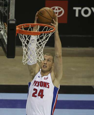Detroit Pistons center Mason Plumlee (24) dunks the ball during the second quarter of the NBA game against the Houston Rockets Friday, March 19, 2021, at Toyota Center in Houston. Photo: Yi-Chin Lee/Staff Photographer / © 2021 Houston Chronicle