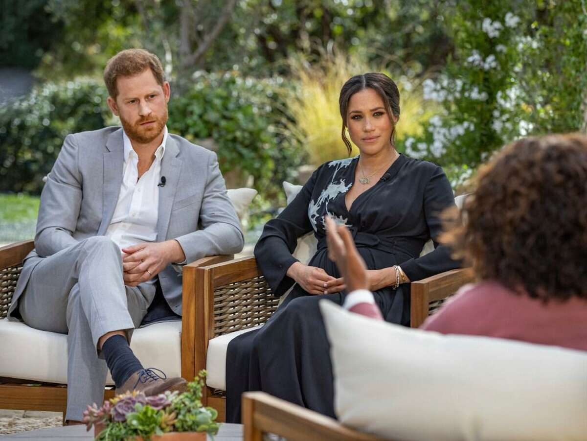 Prince Harry and Meghan, Duchess of Sussex, receive questions from Oprah Winfrey.