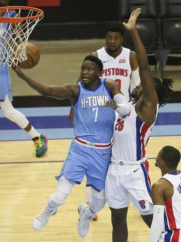 Houston Rockets guard Victor Oladipo (7) goes for a lay up during the fourth quarter of the NBA game against the Detroit Pistons Friday, March 19, 2021, at Toyota Center in Houston. Photo: Yi-Chin Lee/Staff Photographer / © 2021 Houston Chronicle