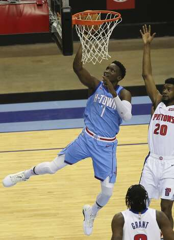 Houston Rockets guard Victor Oladipo (7) goes for the basket during the fourth quarter of the NBA game against the Detroit Pistons Friday, March 19, 2021, at Toyota Center in Houston. Photo: Yi-Chin Lee/Staff Photographer / © 2021 Houston Chronicle