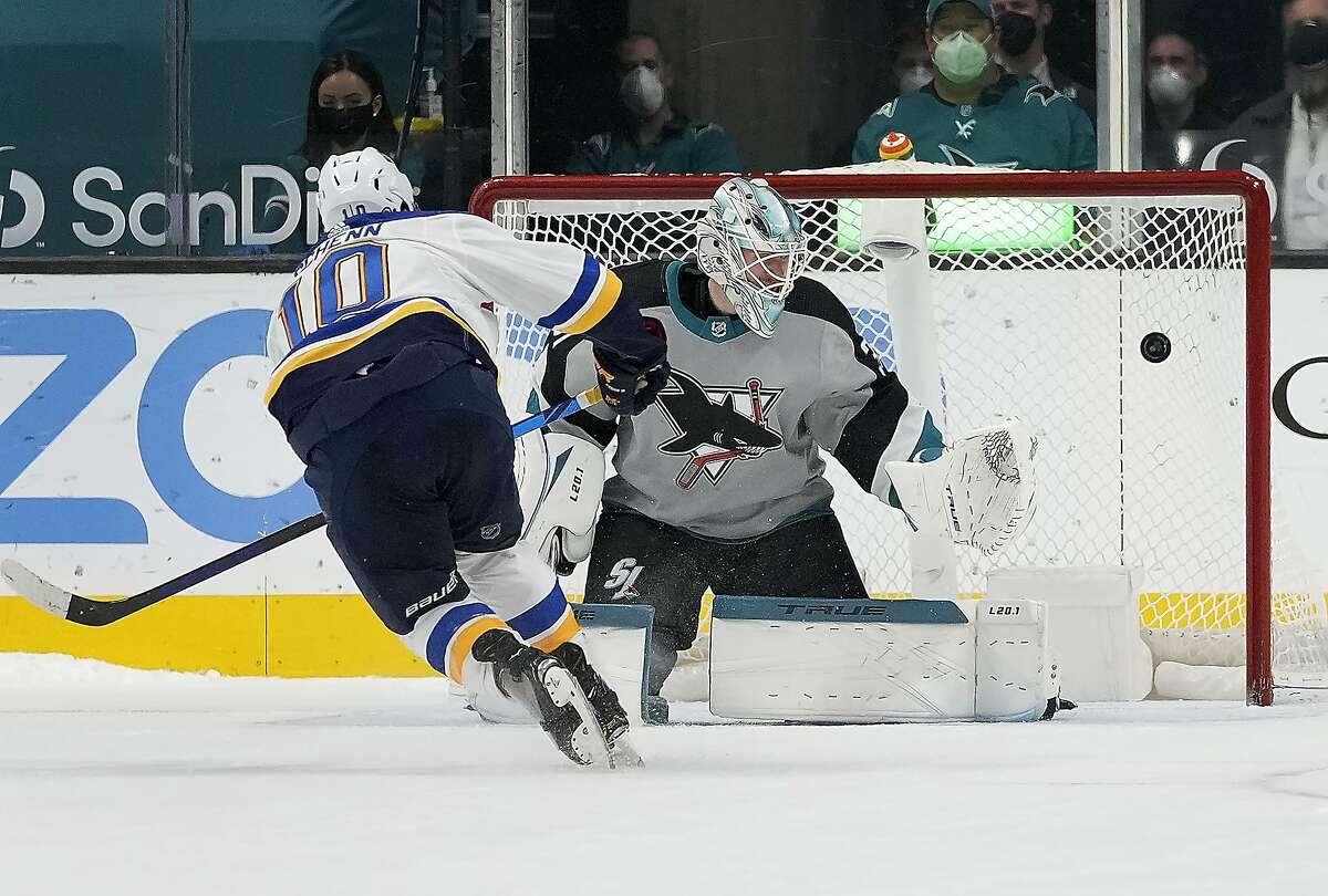 Blues center Brayden Schenn scores on Sharks goaltender Martin Jones during St. Louis' shootout win at SAP Center.