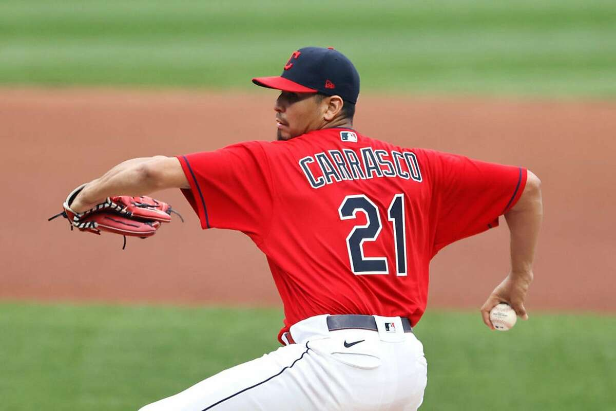 Carlos Carrasco #21 of the Cleveland Indians pitches against the Kansas City Royals during the first inning at Progressive Field on September 9, 2020 in Cleveland, Ohio. (Photo by Ron Schwane/Getty Images/TNS)