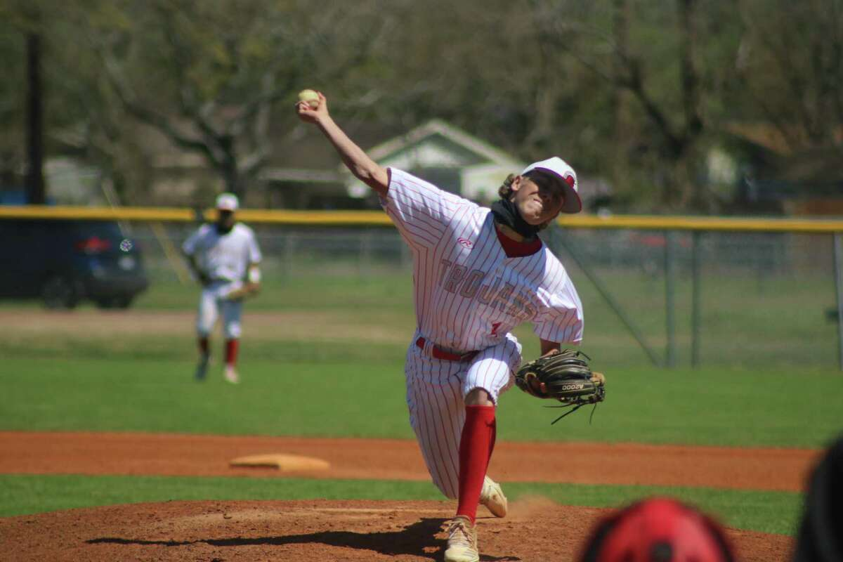 South Houston starting pitcher Landon Wenke bears down on a Pasadena batter in the seventh inning. Wenke struck out nine and walked three (two in the seventh) in getting the victory.