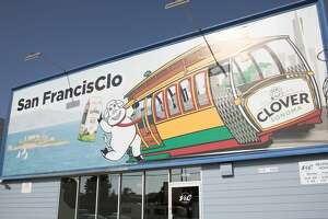 """The iconic Clover """"pun billboards"""" have been amusing the Bay Area for decades. One is in the Bayview district of San Francisco on March 19, 2021."""