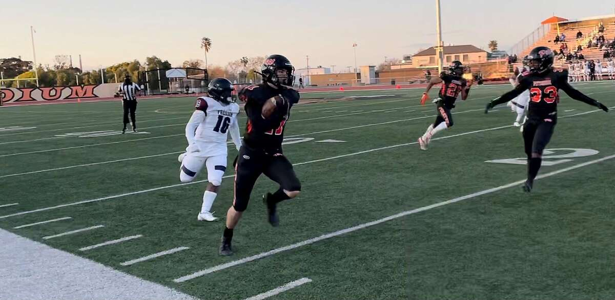 Pittsburg's Matthew Quesada returns a punt 46 yards for a touchdown in the Pirates' win over Freedom-Oakley on Friday.