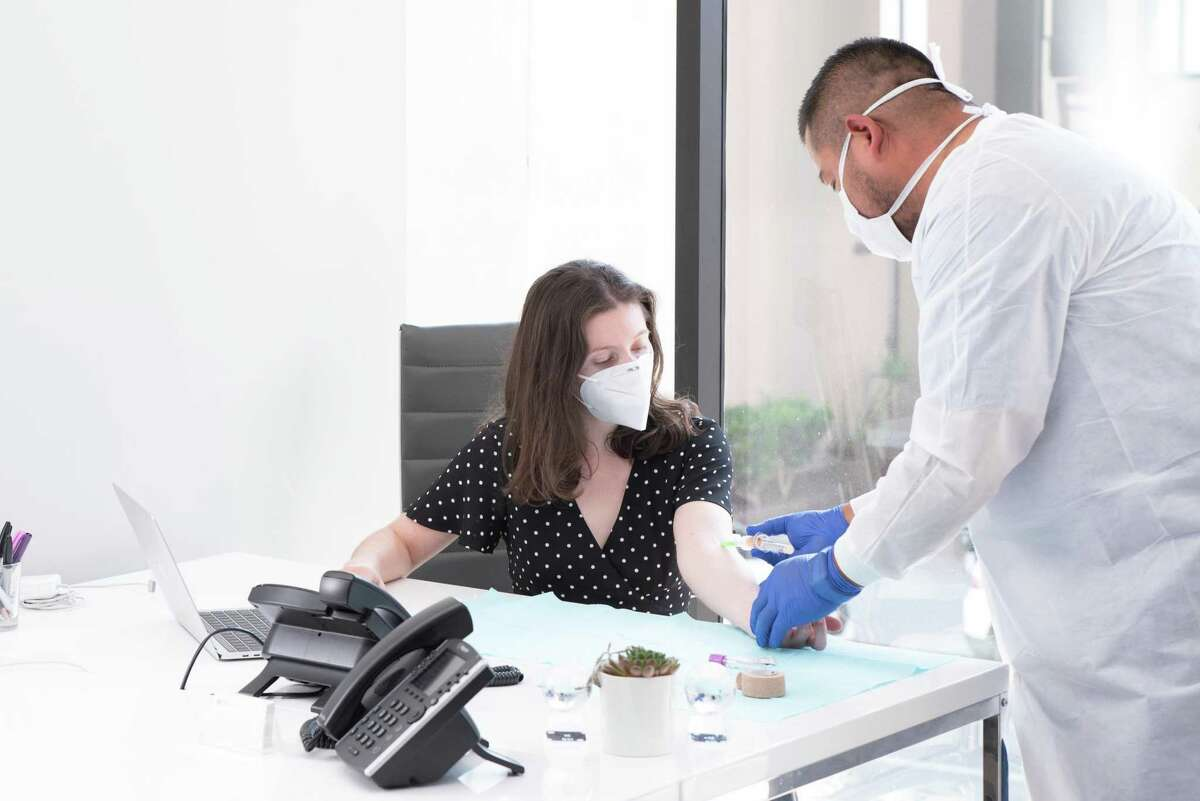 A private medical testing company conducts COVID-19 novel coronavirus antibody testing.