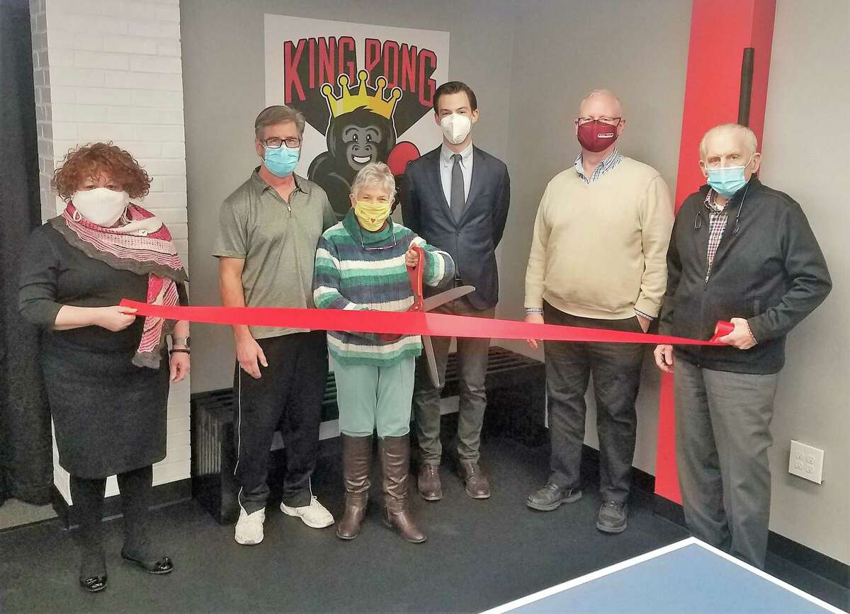 King Pong in Middletown held a soft opening March 16. From left are Middlesex County Chamber of Commerce Central Business Bureau Chairwoman Pamela Roose, owners Mark Loomis and Tina Loomis, Mayor Ben Florsheim, Chamber Chairman Tom Byrne and President Larry McHugh.