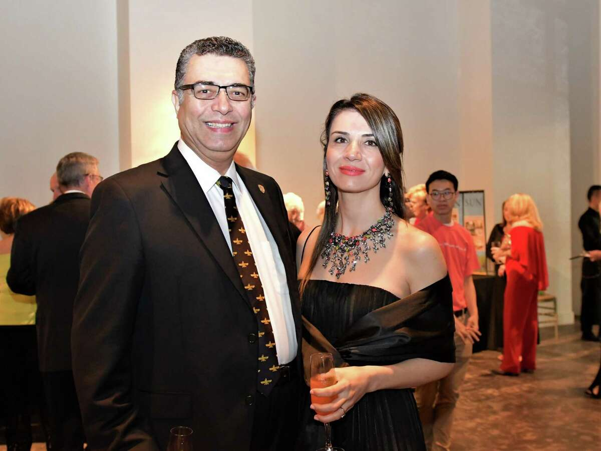 """The Pearl Fincher Museum of Fine Arts will host a virtual gala, """"Our Heroes: Portraits of Courage"""" on Saturday, April 10. The gala is the museum's largest development event each year, and this year will honor the community's frontline essential workers. Enjoying the 2019 gala are, from left to right, Dr. Shah and Rojano Ardalan. Dr. Ardalan is the President of Lone Star College - University Park."""