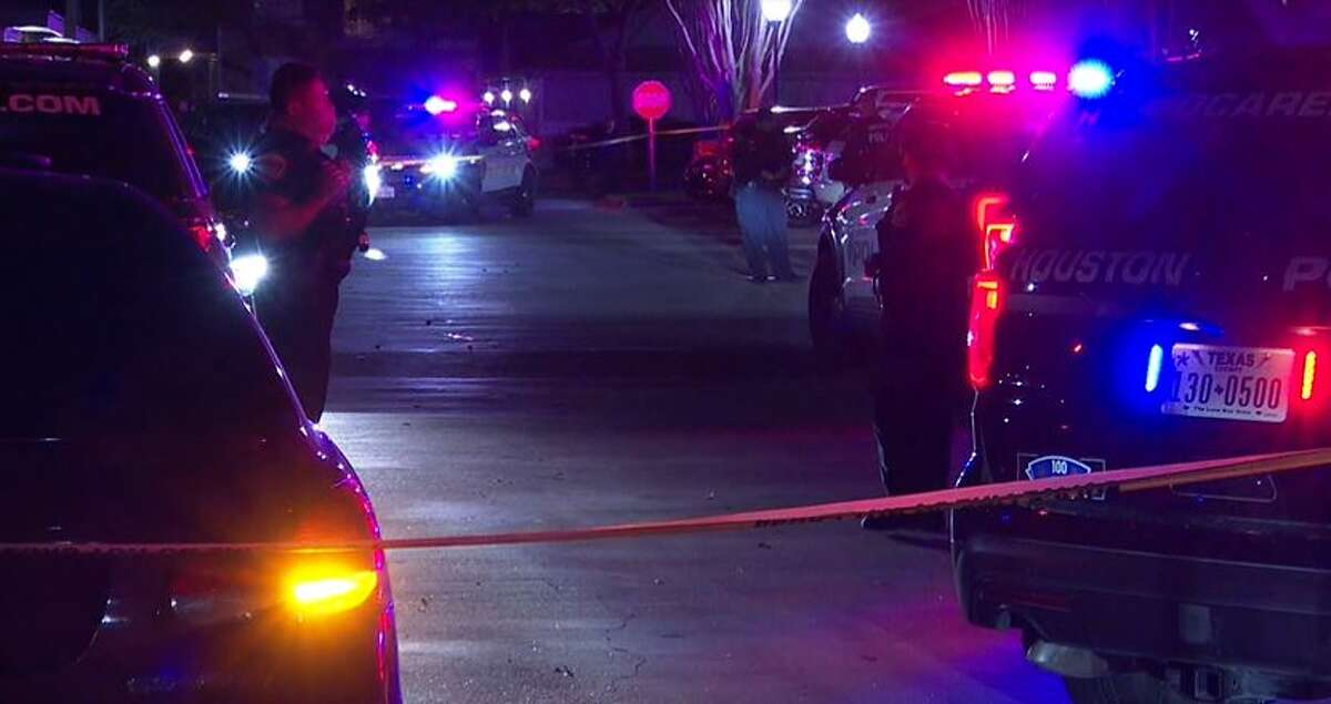 Houston police investigate a shooting on Friday night March 19, 2021 on the 12300 block of Richmond Avenue. One person died and two others, including a child, were injured during a shooting that arose from a family disturbance.
