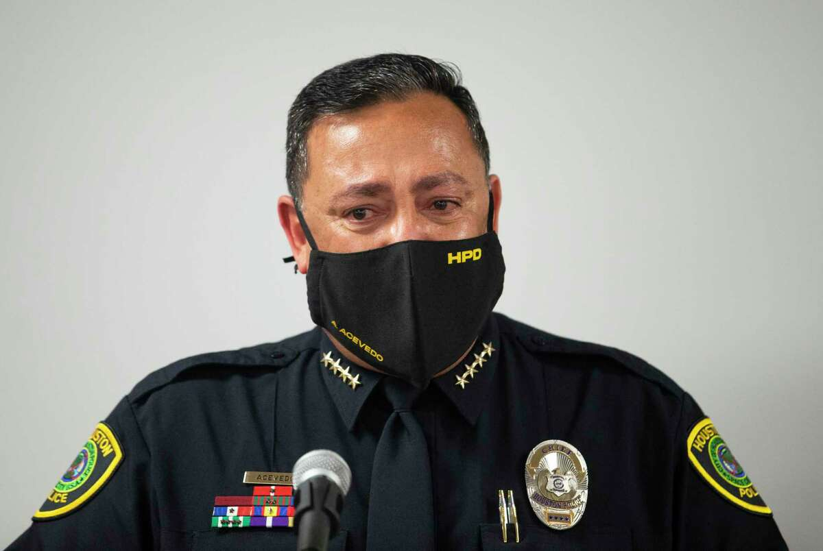 Houston Police Chief Art Acevedo gets emotional when he talks about leaving Houston to become chief of the Miami Police Department during a press conference Tuesday, March 16, 2021, in Houston. Acevedo praised his executive team, who joined him in the press conference, and said the city will be in good hands when he leaves.