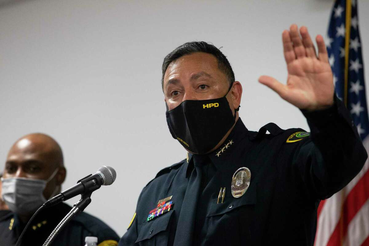 Houston Police Chief Art Acevedo talks about leaving Houston at a press conference Tuesday, March 16, 2021, in Houston.