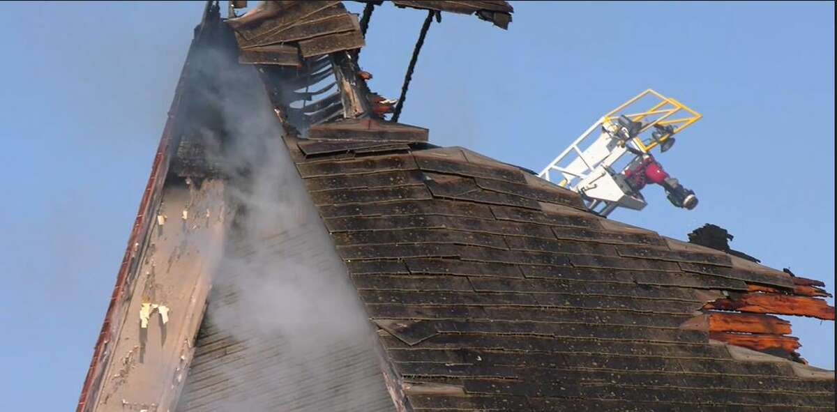 The Pasadena Fire Department battled flames and smoke Saturday morning at a vacant church that once housed the Community of Christ. No one was injured and the cause of the fire remains under investigation. Parts of the church's roof collapsed.