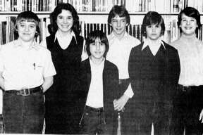 These Manistee Catholic Central students will be competing April 11 against approximately 400 other northern Michigan students in the 1981 Region II Mathematics Competition. (From left) Michael Grage, Kathleen Worm, Douglas Patulski, Peter Balcer, Paul Grage and Dale Miller. The photo was published in the New Advocate on March 25, 19881.(Manistee County Historical Museum photo)