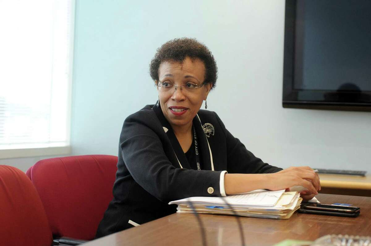 Dr. Jennifer Calder, then-director of health for the city of Stamford, in the Government Center in downtown Stamford on Wednesday, Aug. 1, 2018. She has not renewed her contract with the city for the position of director of health, the city announced Friday.