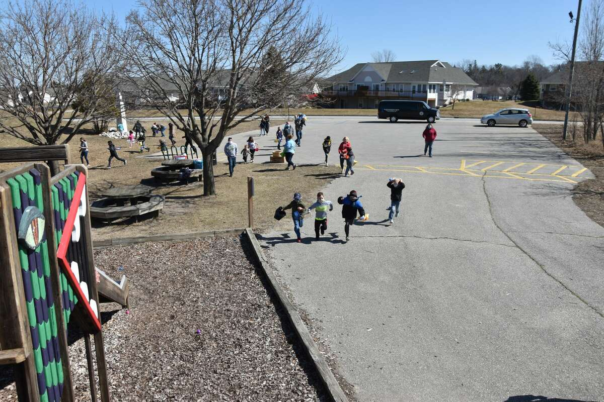 Children took off at a run ready to gather their 15 eggs.
