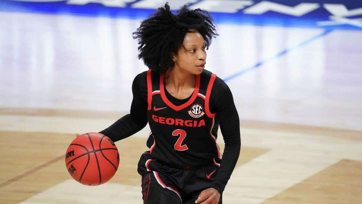Georgia guard Gabby Connally dribbles during the second half of an NCAA college basketball game against South Carolina Sunday, March 7, 2021, during the Southeastern Conference tournament final in Greenville, S.C. South Carolina won 67-62.