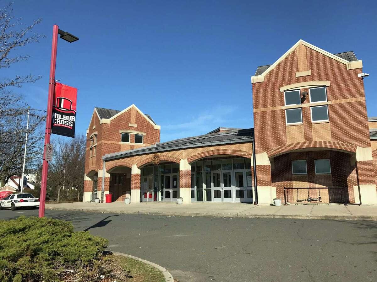 Wilbur Cross High School during a citywide school shutdown on March 16, 2020.
