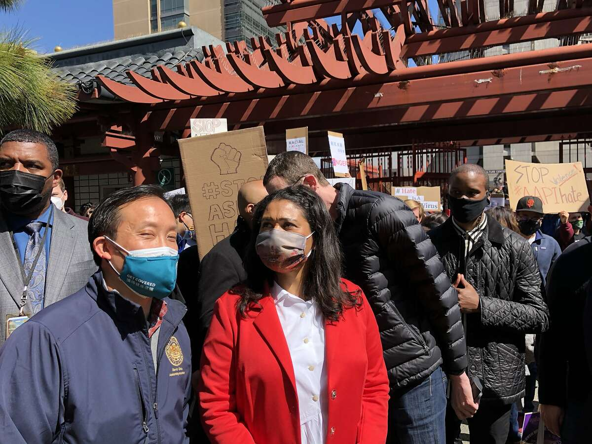 San Francisco City Mayor London Breed (right) and David Chiu, Assembly Member (left) stand in solidarity with AAPI community at an AAPI following the recent targeted shootings in Atlanta, Georgia. Chinatown, San Francisco. March 20, 2021.