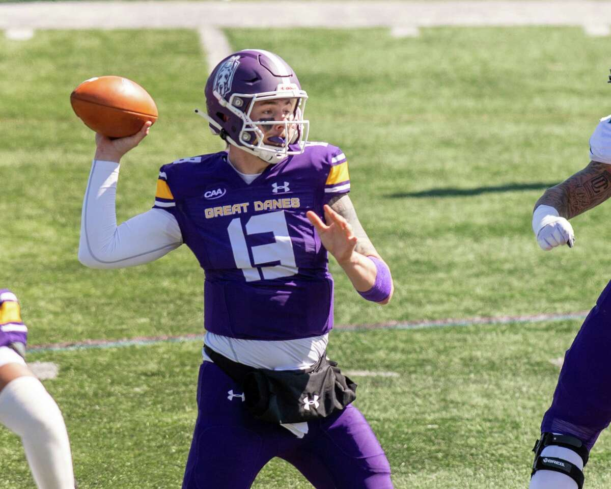 UAlbany quarterback Jeff Undercuffler throws a pass against Rhode Island during the home opener at Casey Stadium on the UAlbany campus in Albany on March 20, 2021. He threw three interceptions in the game. (Jim Franco/Special to the Times Union)