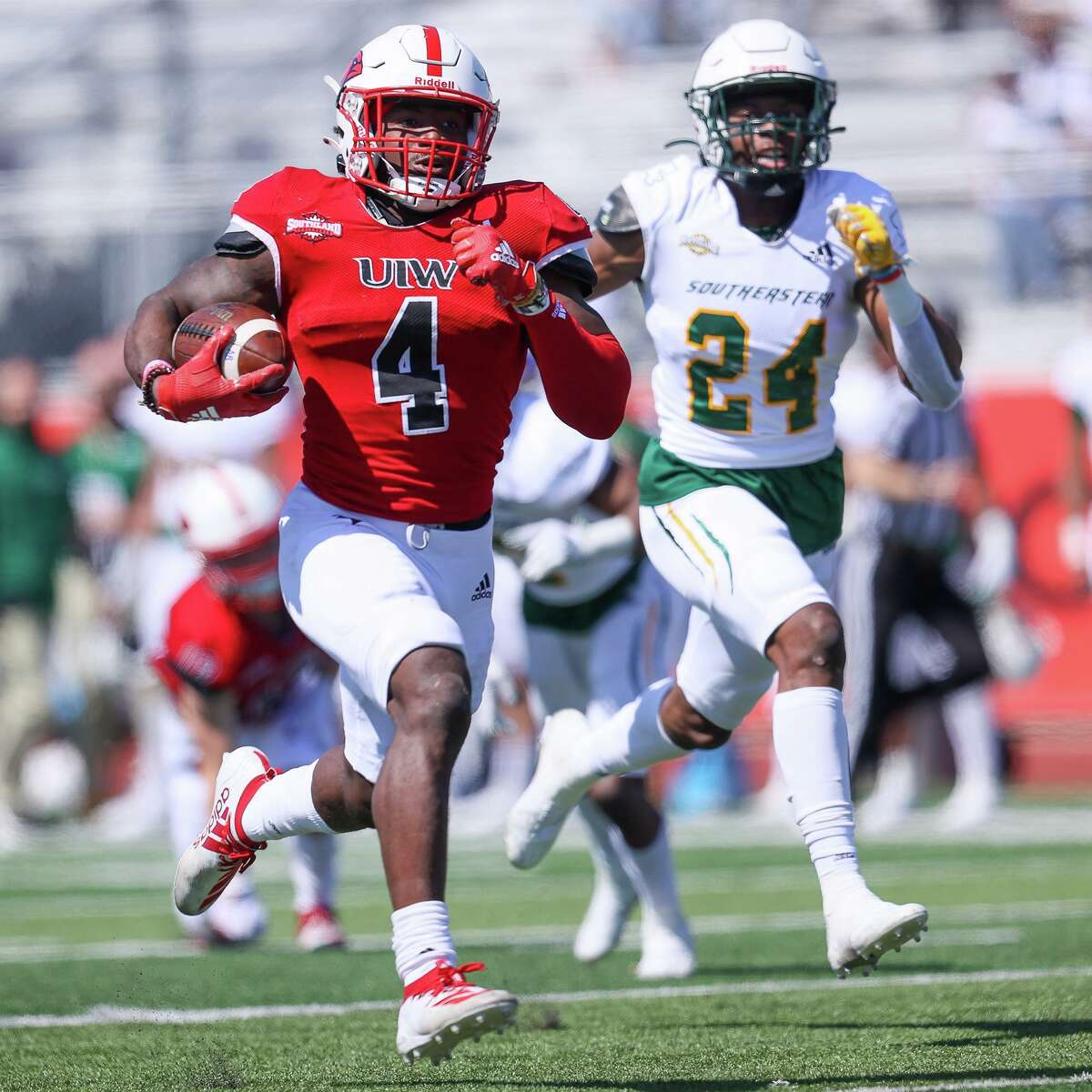 UIW's Kevin Brown breaks free for a 75-yard touchdown run in the second quarter of their first home game of the spring Southland Conference season against Southeastern Louisiana at Gayle and Tom Benson Stadium on Saturday, March 20, 2021.