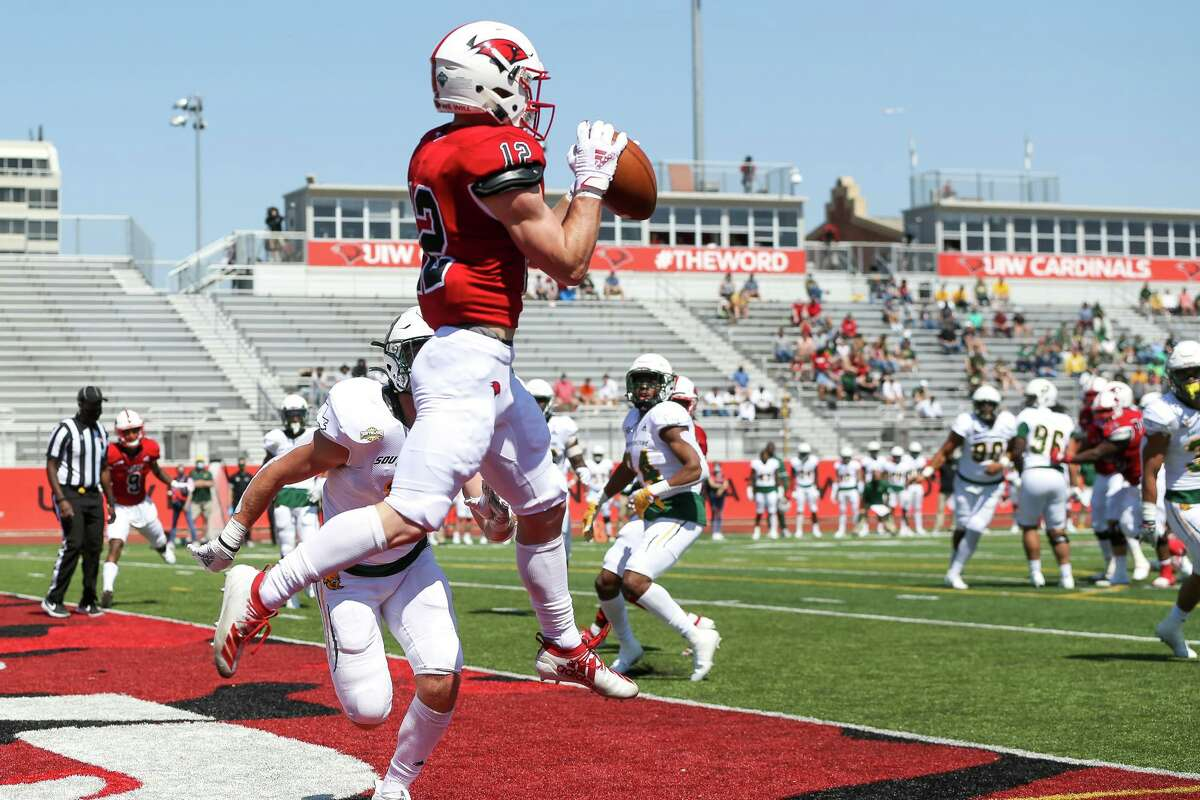 UIW's Robert Ferrel catches a 7-yard touchdown reception in the end zone during their first home game of the spring Southland Conference season against Southeastern Louisiana at Gayle and Tom Benson Stadium on Saturday, March 20, 2021.