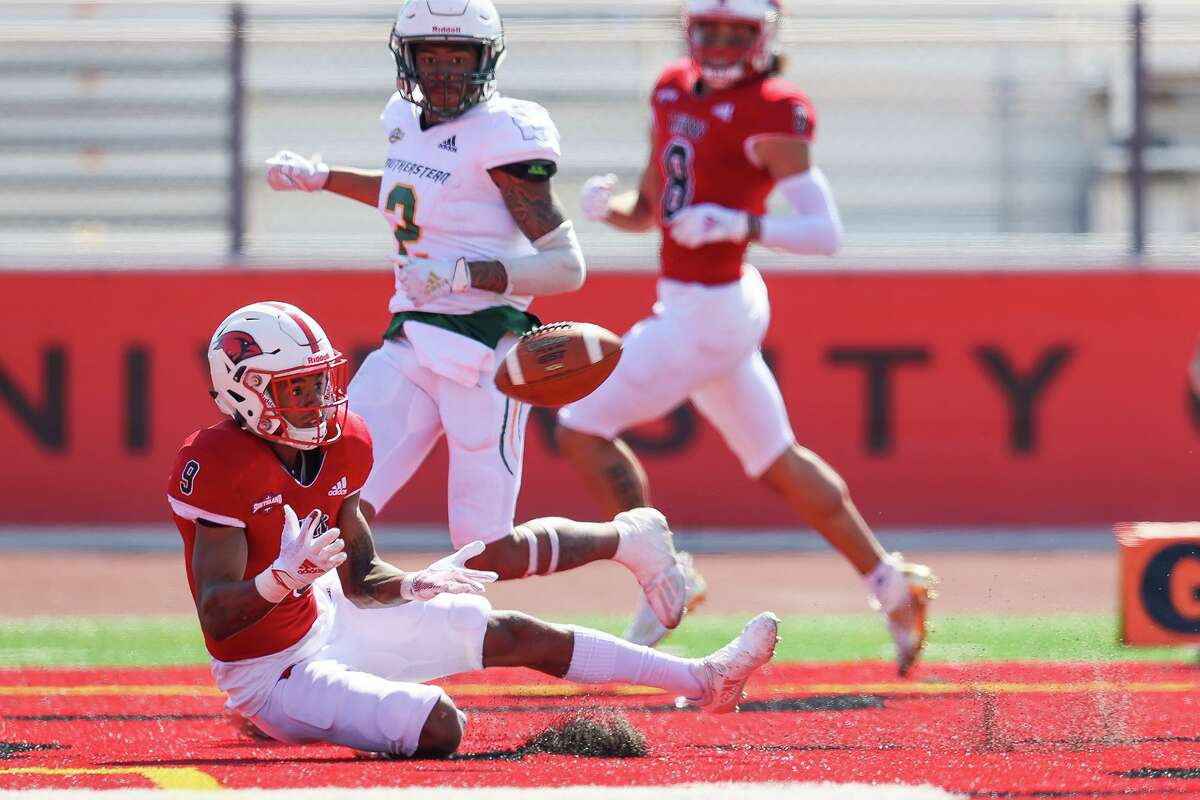 UIW's Tre Wolf looks to pull down a 25-yard touchdown reception in the end zone during their first home game of the spring Southland Conference season against Southeastern Louisiana at Gayle and Tom Benson Stadium on Saturday, March 20, 2021.