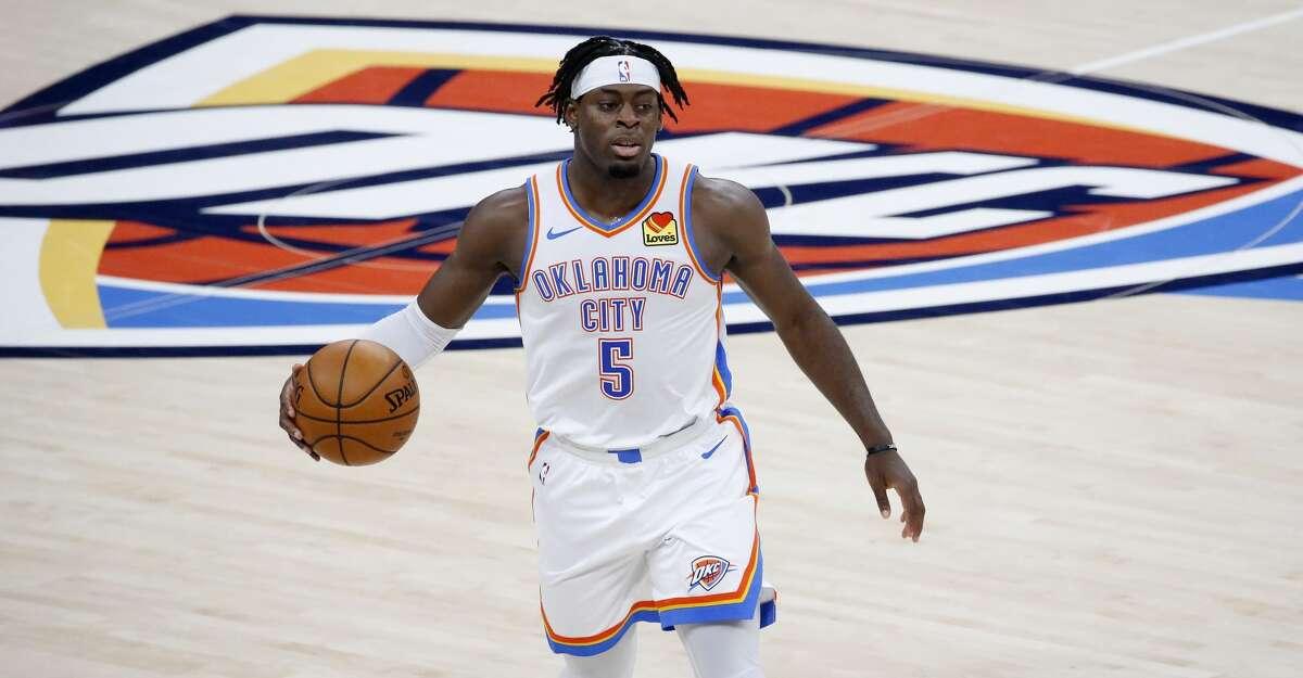 Oklahoma City Thunder forward Luguentz Dort (5) during the first half of an NBA basketball game against the New York Knicks, Saturday, March 13, 2021, in Oklahoma City. (AP Photo/Garett Fisbeck)